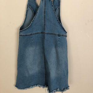American Bazi Dresses - American Bazi distressed and short overall dress